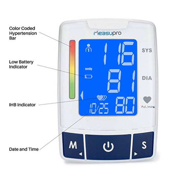 MeasuPro Portable Wrist Blood Pressure Monitor with Heart Rate Meter