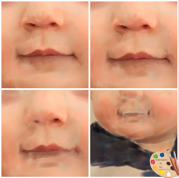 Painting Lips and Nose on Toddler Portraits