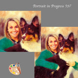 Woman with Australian Shepherd Portrait 597