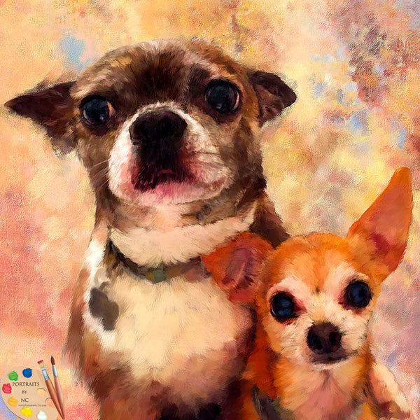 Digital Portrait of Two Dogs 593