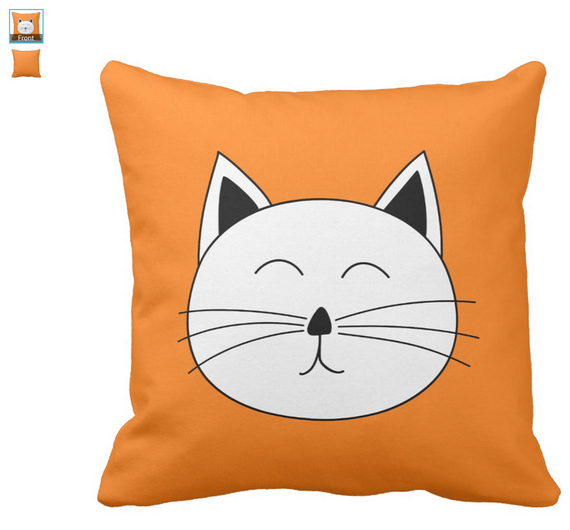Cute Cat Face Pillow