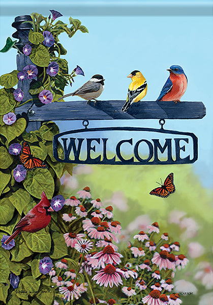 Blue 'Welcome' Bird Sign Outdoor Flag