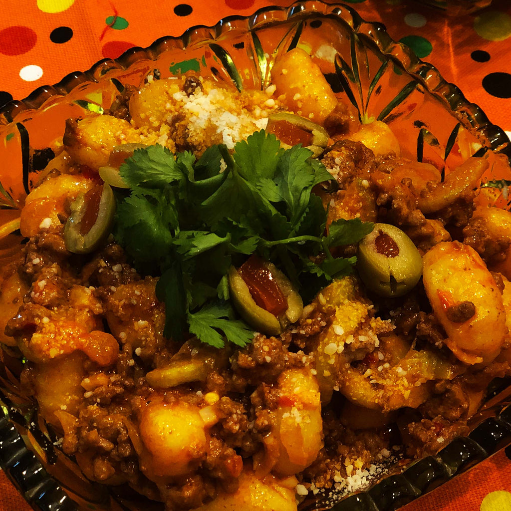 Gnocchi and spicy beef