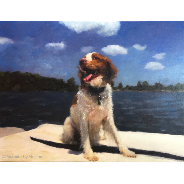 Irish Setter On Boat Painting