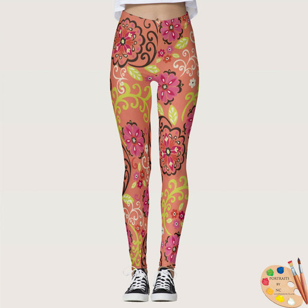 Leggings Front Flower Power