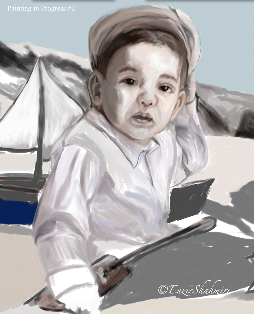 sketch of child at beach