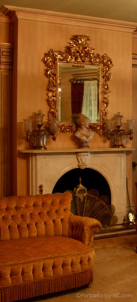 Mantel with large mirror