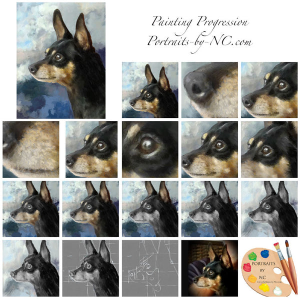 doberman pinscher painting progression