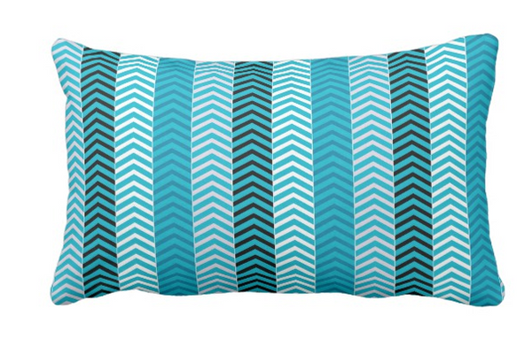 teal striped lumbar pillow