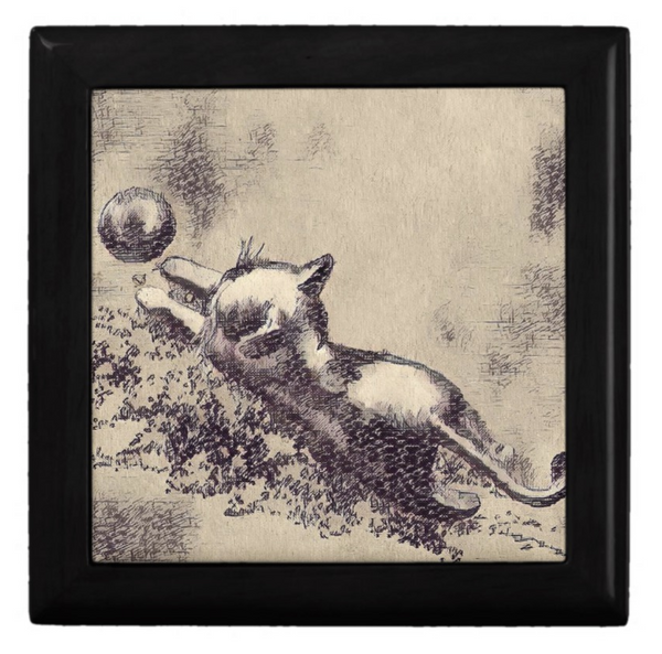 keepsake box in black and beige cat design
