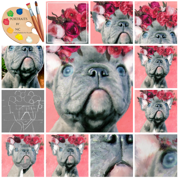 English Bulldog painting progress