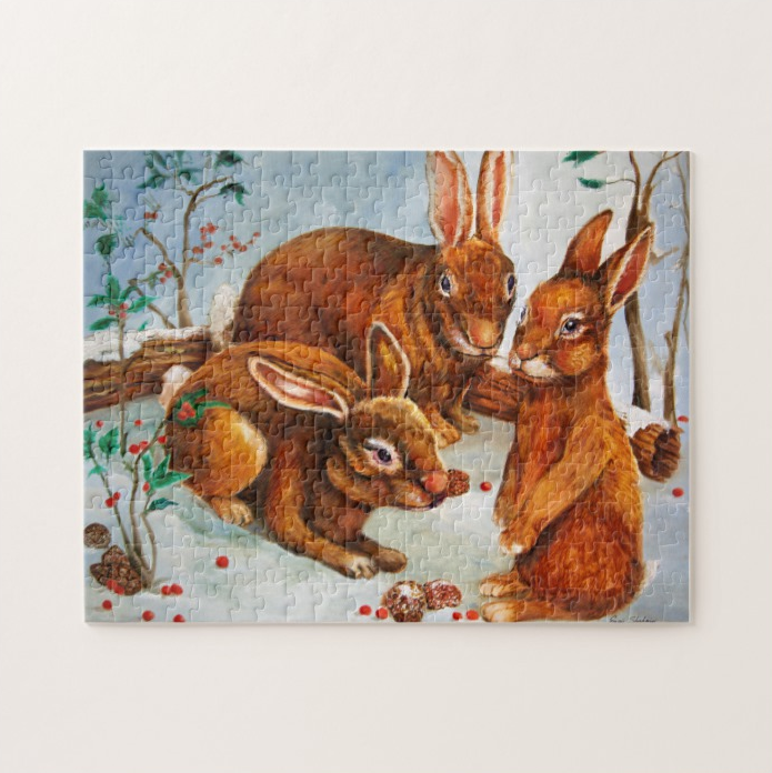 Puzzle with Rabbits sitting in snow