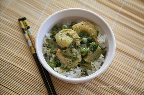 Shrimp with Spicy Green Curry Sauce