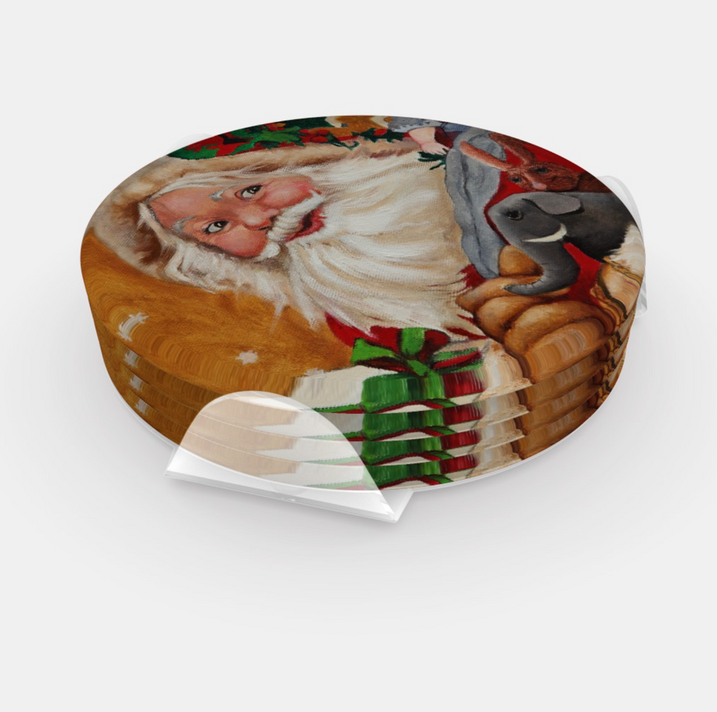 Stacked round santa coasters