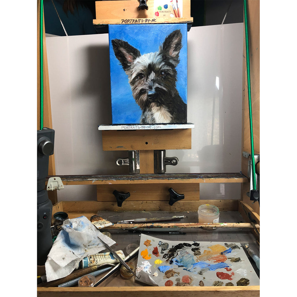 Terrier Painting on Easel