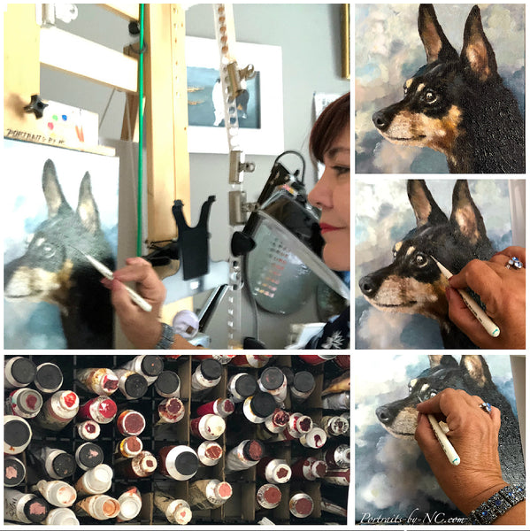 Miniature Pinscher being painted