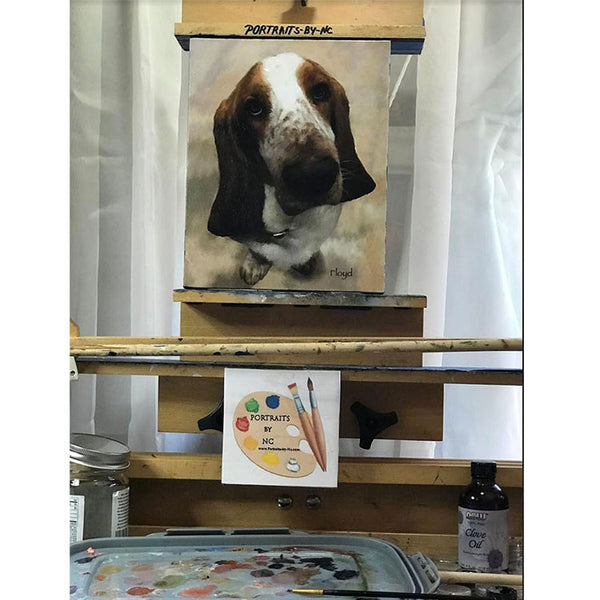Basset Hound Portrait on Easel
