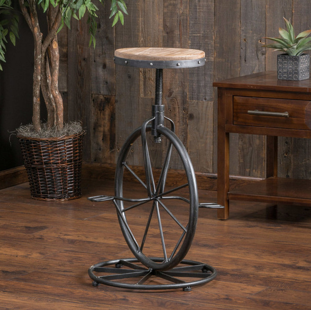 Bicycle Wheel Adjustable Bar Stool