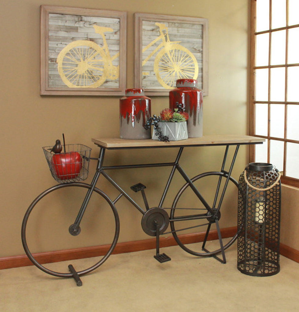 Bicycle Console Table Brown