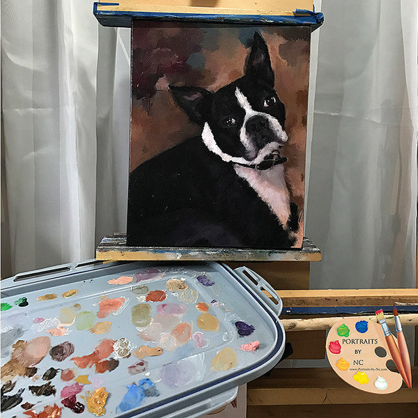 Boston Terrier Painting on Easel