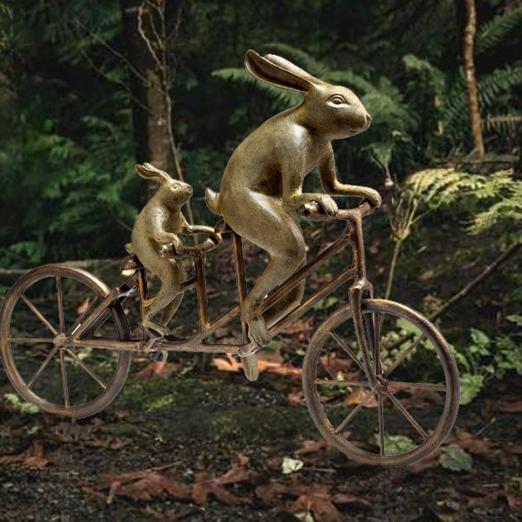 Tandem Bicycle Bunnies Garden Staue