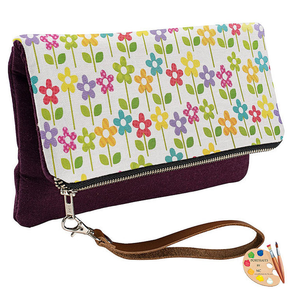 floral clutch eggplant