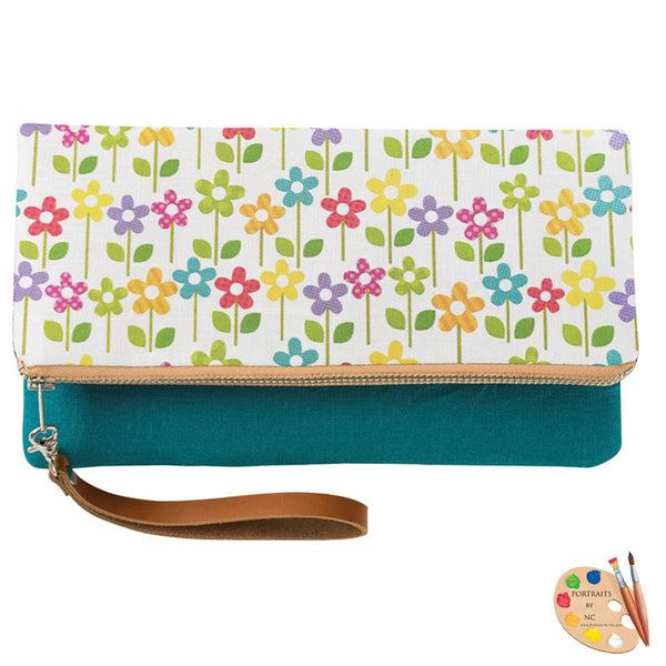 teal clutch front view