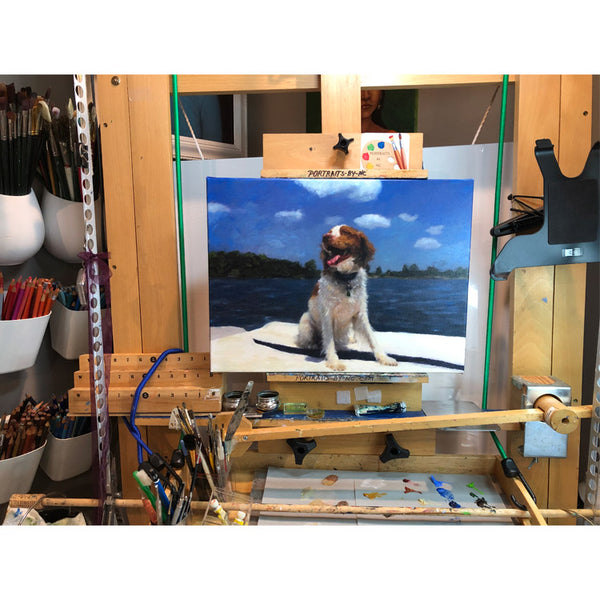 dog portrait on the easel