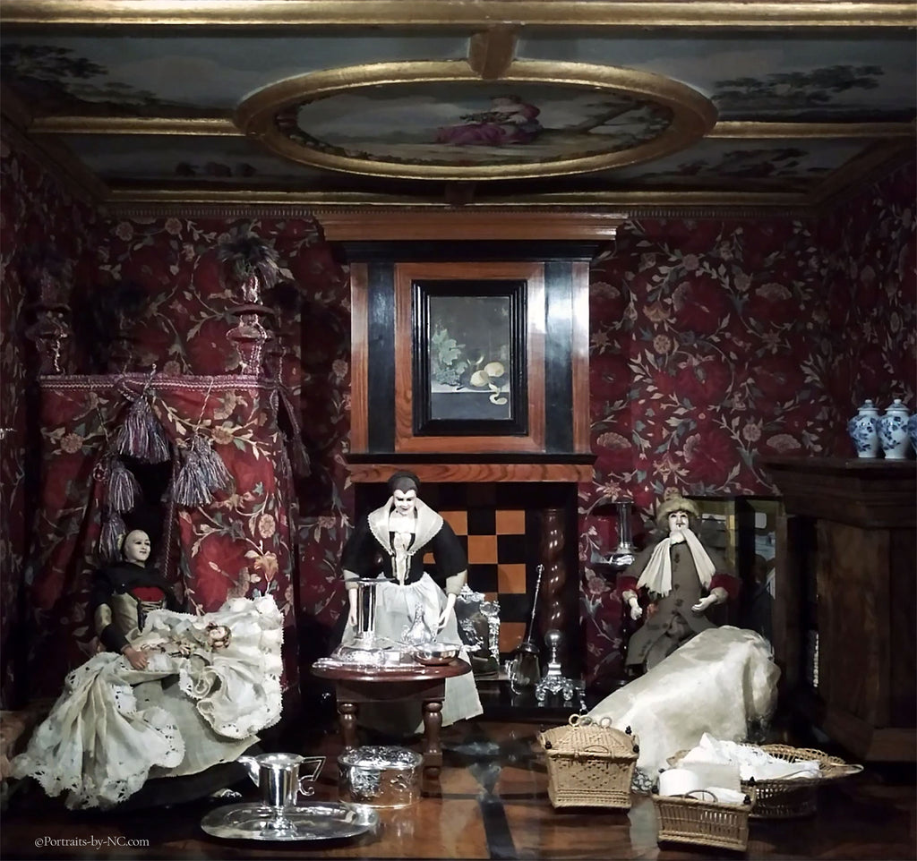 dollhouse room with people