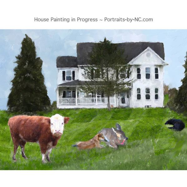 farm animals painting progress