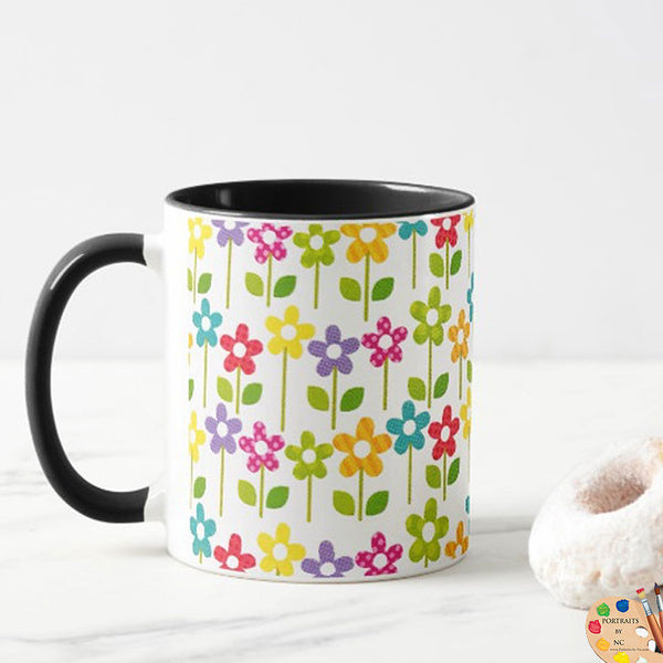 Floral Mug with Cookie