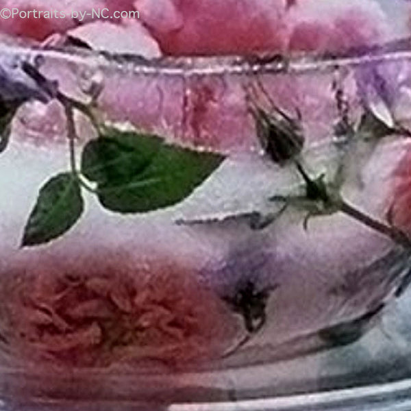 frozen ice bucket with flowers