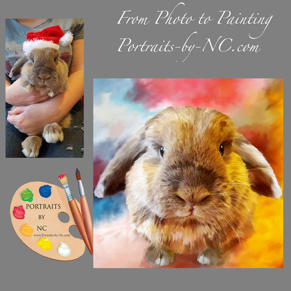 holland lop painting from photo