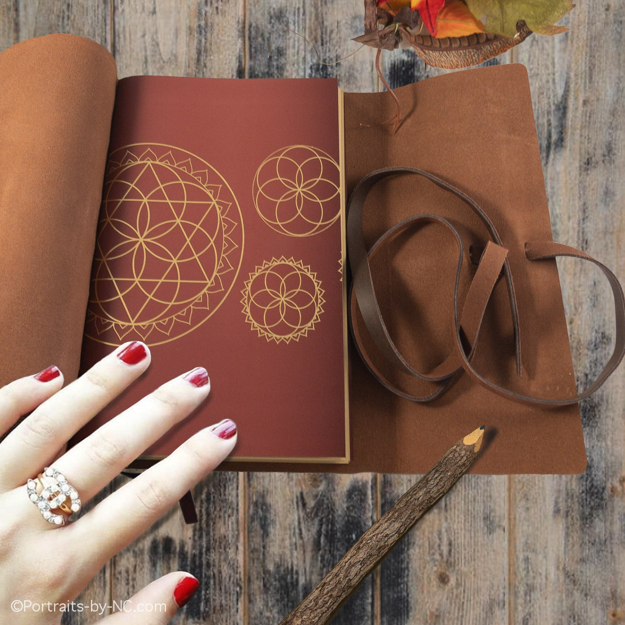 sacred lotus love leather journal
