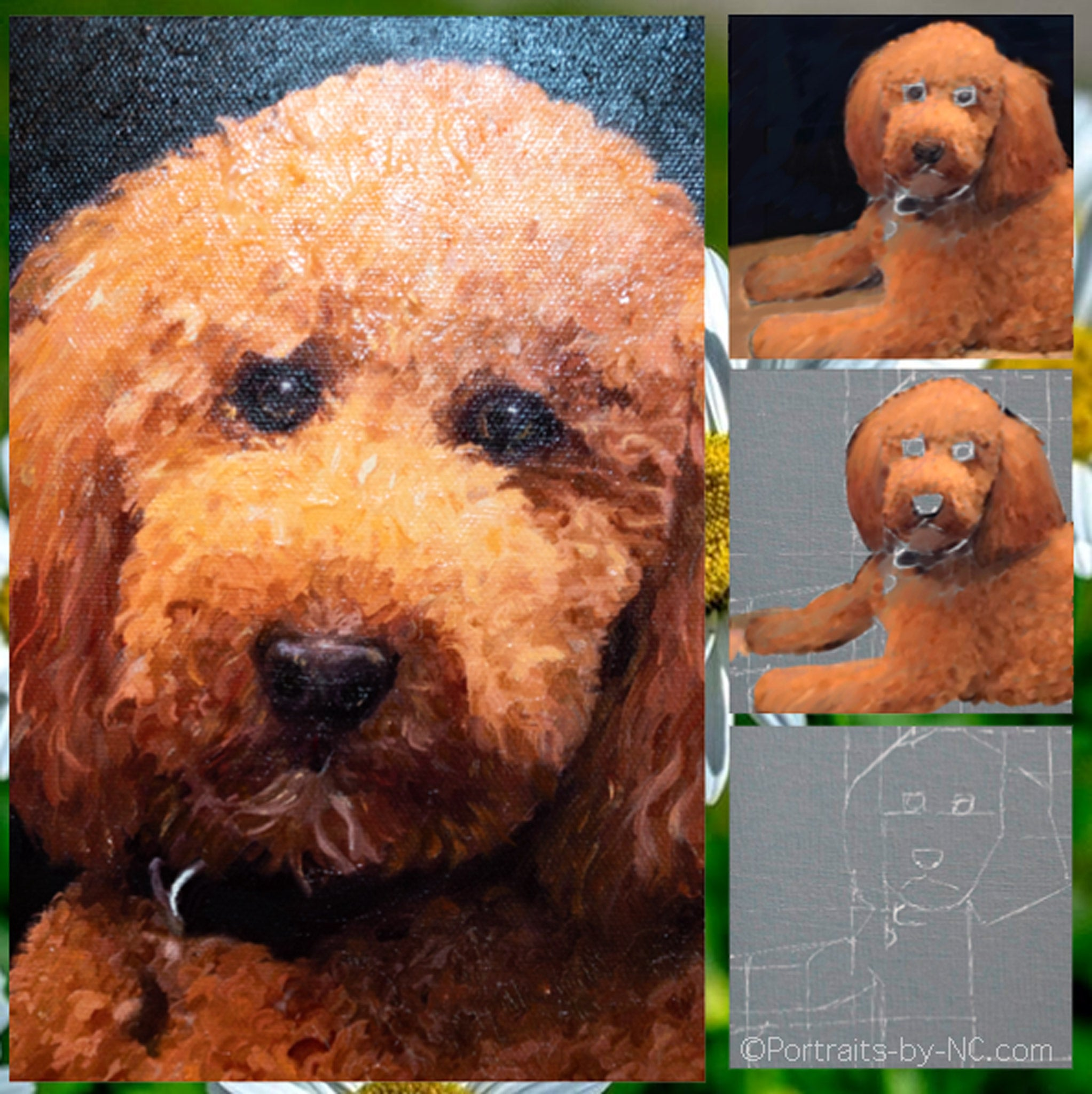 labradoodle painting collage