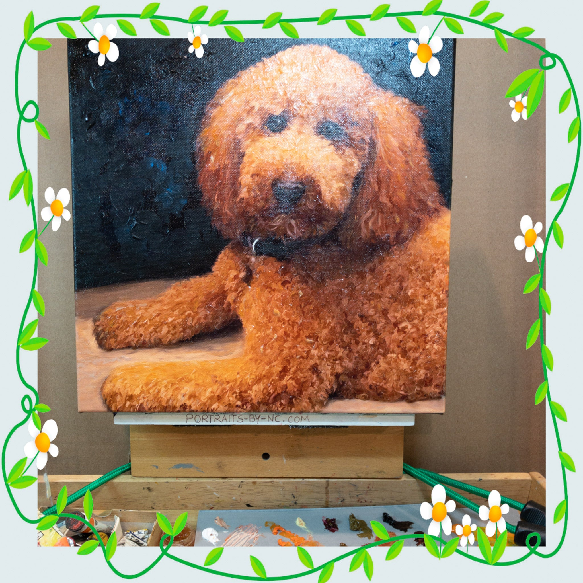 labradoodle painting on easel