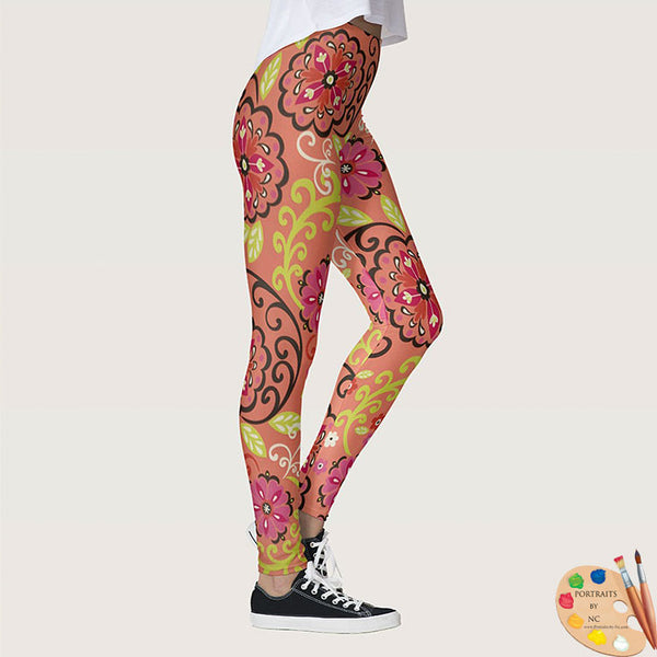 Leggings Side2 Flower Power