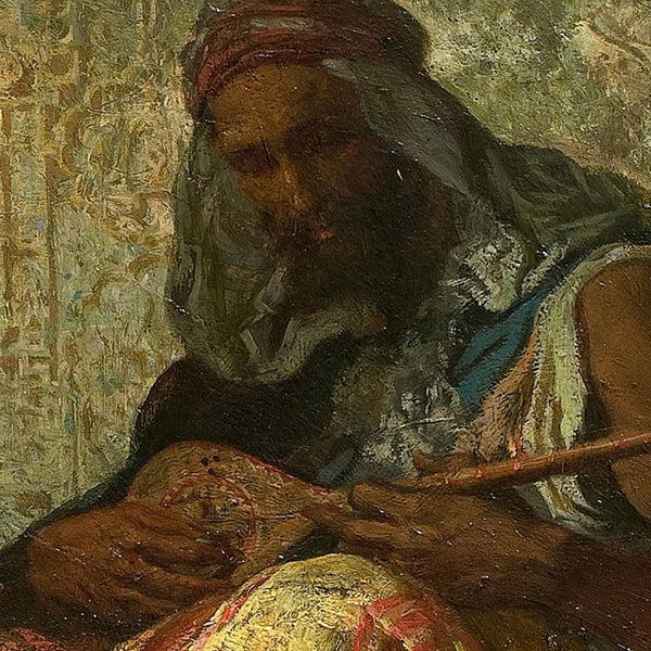 man-playing-instrument-painting-detail