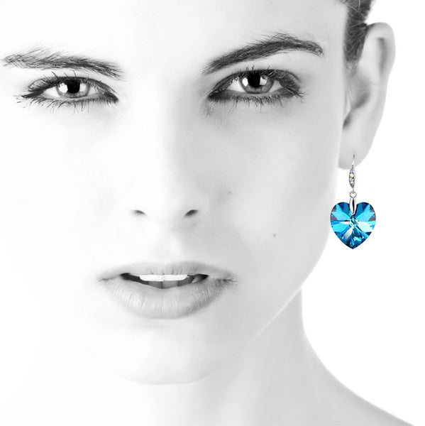 Model with Swarovsky Heart Earrings