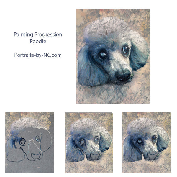 Poodle Portrait Painting Progression