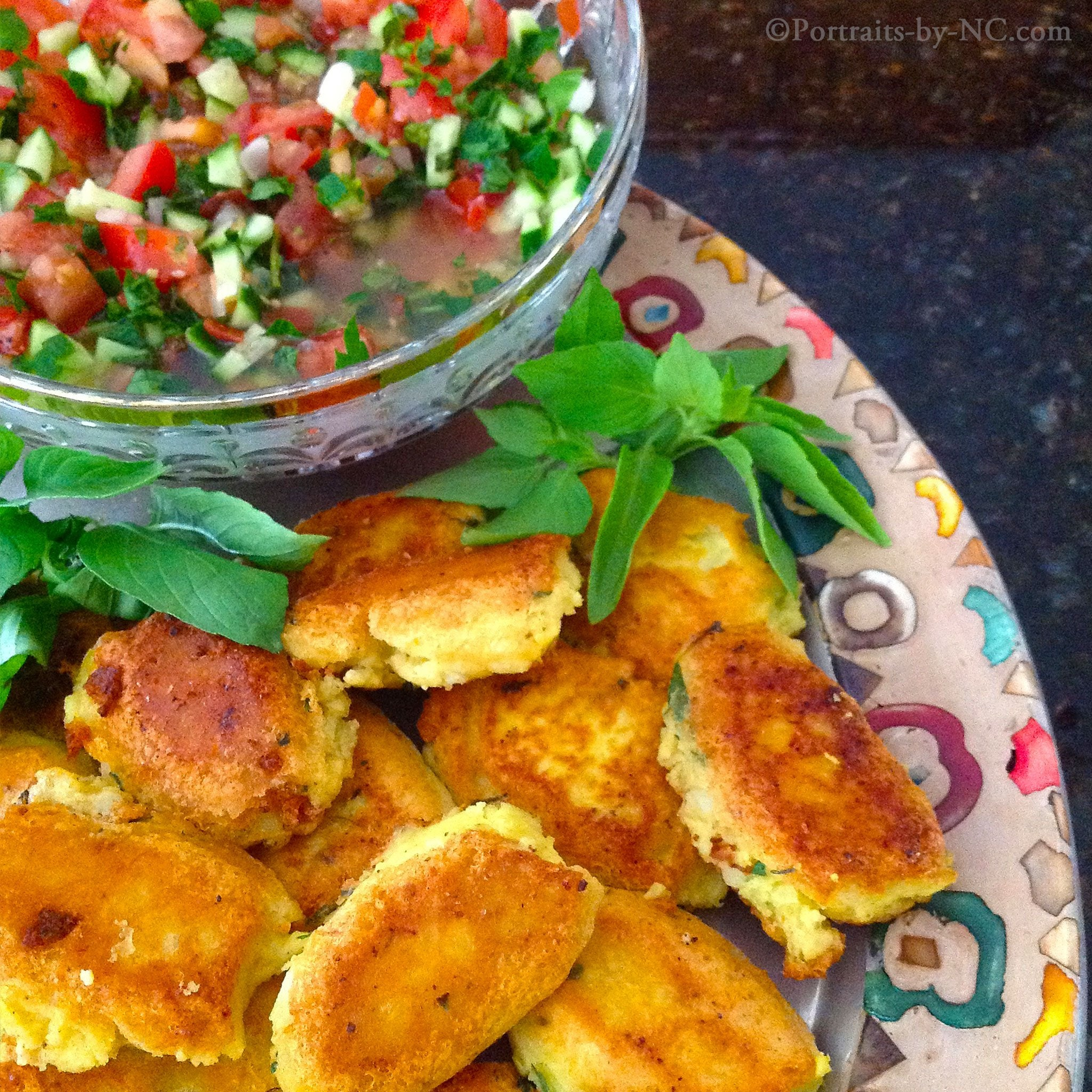 potato patties with salad