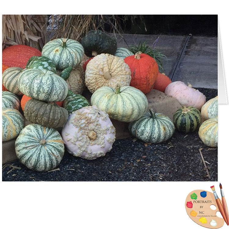 greeting card with pumpkins