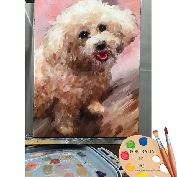 schnoodle painting on easel