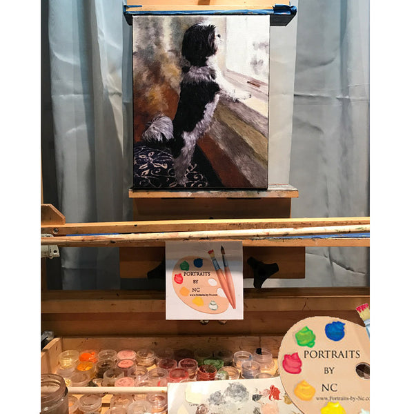 shih tzu painting on easel