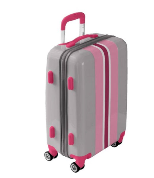 suitcase with pink stripes
