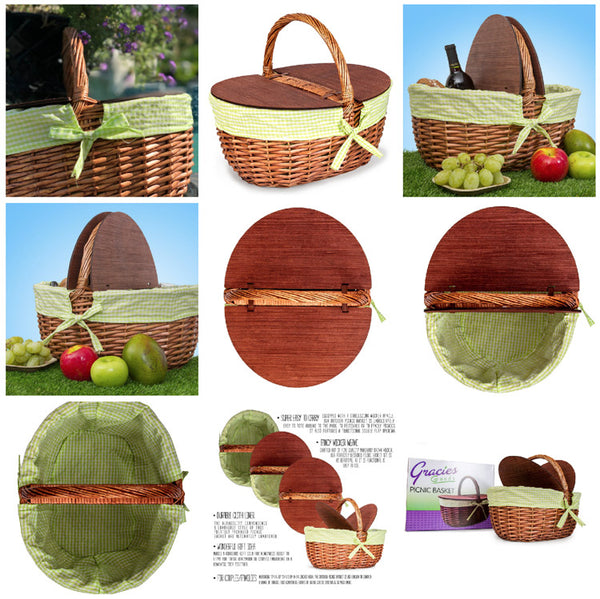 Wicker Basket with Green Lining