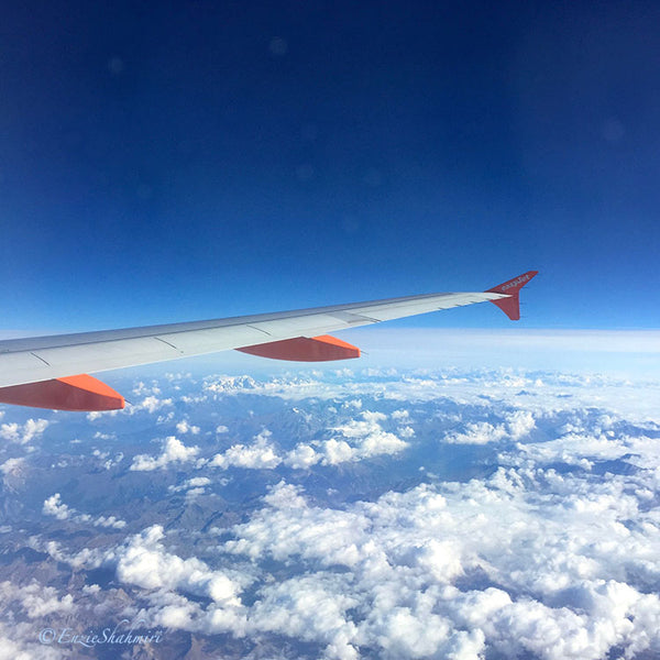 wing of plane in sky
