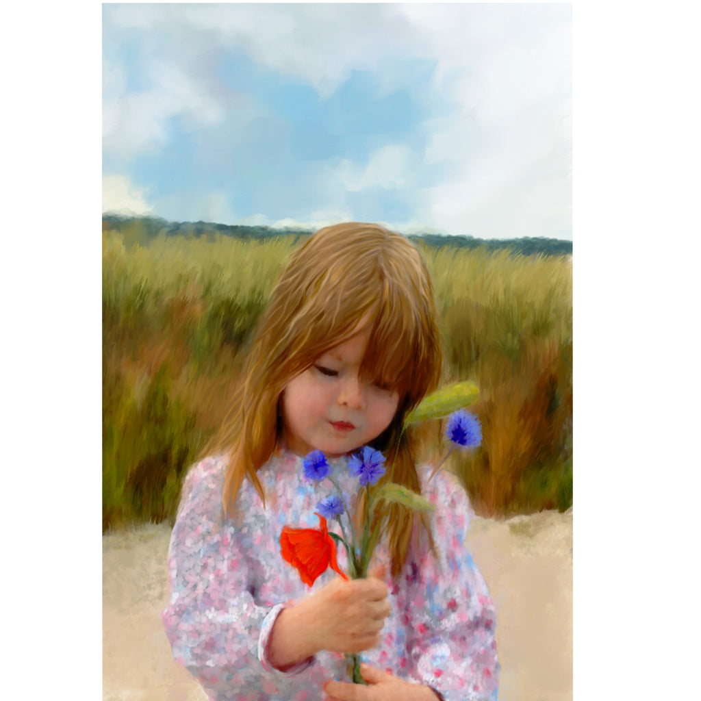 Picking Cornflowers Child Portrait