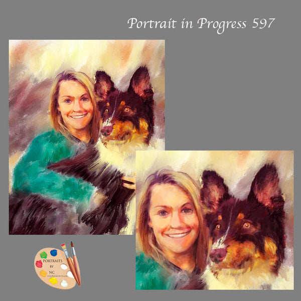 woman with dog painting 597