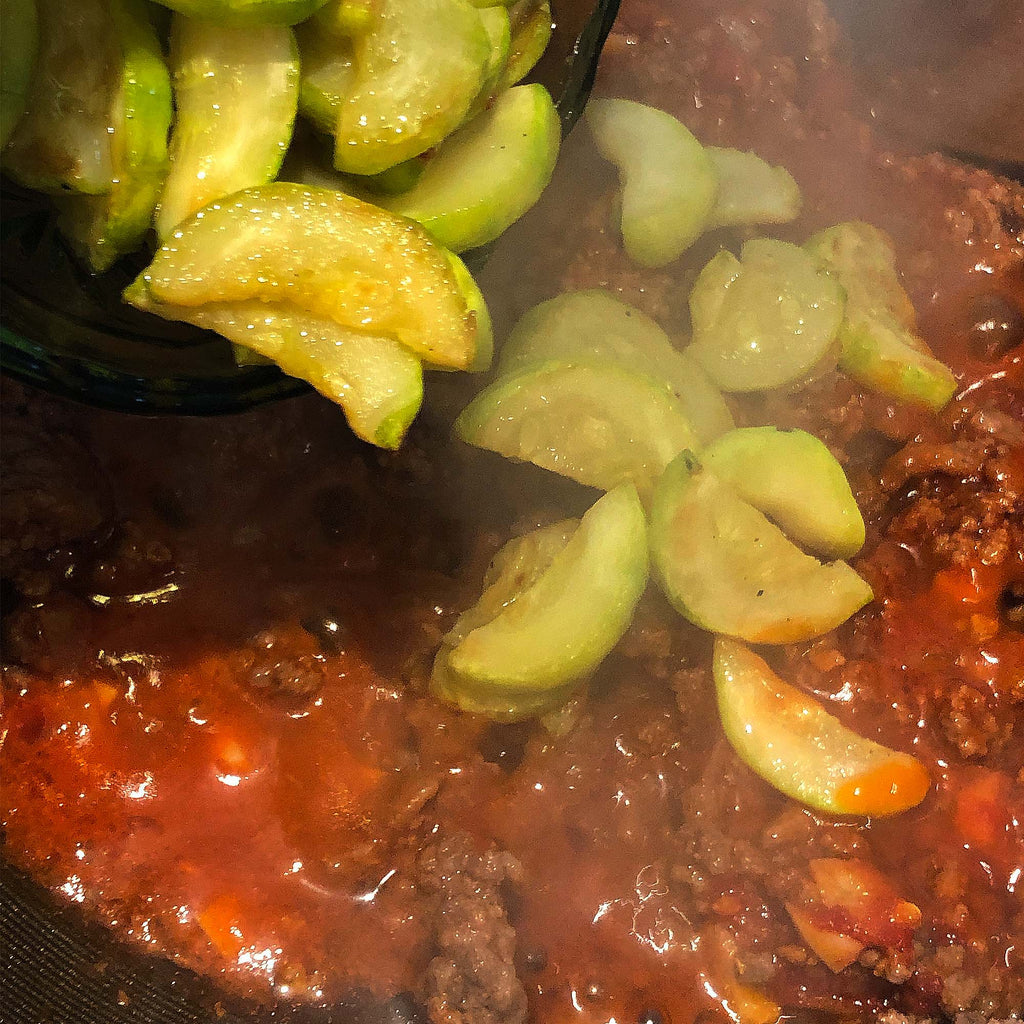 zucchini and meat sauce